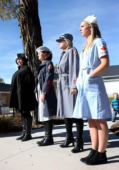 Red Cross volunteers Amanda Keiser, left, Terry Watkins, Renee Krebs and Lydia Banks dress up in original WWII Red Cross nurses uniforms during a special donation ceremony of WWII Red Cross memorabilia to the Fort Douglas Military museum in Salt Lake City on Thursday, Oct. 30, 2014. The American Red Cross Utah Region donated dozens of actual World War II nurses uniforms and artifacts to the museum for permanent protection, archiving and display. Red Cross Volunteer, Vintage Nurse, Oct 30, American Red Cross, Lake City, World War Ii, Time Travel, Wwii, Windbreaker