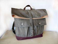 Foldover Canvas Backpack / Back to school bag /