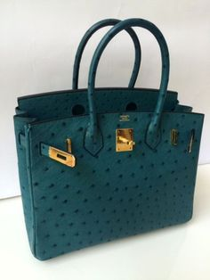 Hermes Birkin 30 Ostrich In Cobalt Blue With Gold Hw