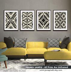 Wall Patterns, Print Patterns, Geometric Patterns, Wallpaper Accent Wall Bathroom, Tribal Art, Interior Inspiration, Modern, Gallery Wall, Throw Pillows