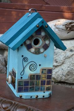 Birdhouse Handmade Mosaic Glass Tile Decorative Outdoor Patio Garden Yard Art Birds OOAK Birdhouses Functional Designer House Free Shipping