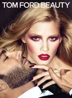 Tom Ford joins the flawless Lara Stone for a Tom Ford beauty advertisement lensed by the prolific Mert and Marcus. Glam Makeup, Beauty Makeup, Hair Makeup, Hair Beauty, 80s Makeup, Beauty Nails, Lara Stone, Tom Ford Beauty, Beauty Ad
