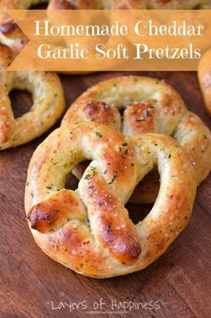 Homemade Cheddar Garlic Soft Pretzels - Love making these on summer days when it's too hot to go outside!