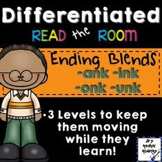 Ending Blends (-ink, -ank, -unk, -onk) Differentiated Read - This is a great resource for your Kindergarten, 1st, and 2nd grade students! With purchase you'll receive 18 different word cards and two different front and back page choices so you can easily make folders to organize these literacy centers. Click through to see all the details now!