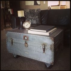 Just sanded down this old military trunk, added castors and VOILA!  Under $50!