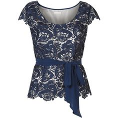 Jacques Vert Belted Lace Top, Navy (1 480 UAH) ❤ liked on Polyvore featuring tops, blue top, floral lace top, cap sleeve top, womens plus tops and embellished tops