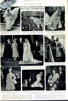 Wedding of the 7th Earl and Countess of Harewood on 29 September 1949. Lord Harewood married Marion Stein in the presence of Princess Mary, Princess Elizabeth and Queen Mary. The 7th Earl was brought up at Goldsborough Hall in the 1920s
