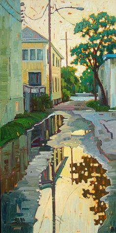 Reflections in the Alley ~ artist Rene' Wiley; oil on canvas. Galveston, Texas #art #painting #landscape #myt