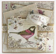 Papers, topper and sentiment from Botanica collection; postcard from Correspondence collection Shabby Chic Cards, Vintage Shabby Chic, Card Tags, I Card, Craftwork Cards, Bird Cards, Cardmaking, Birthday Cards, Projects To Try