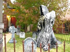 Your own grim reaper: Black trash bags, chicken wire, PVC, white house paint, and a heat gun.