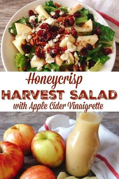 Honeycrisp Harvest Salad – The Mommy Mouse Clubhouse A delicious and fresh salad incorporating the tastes of Fall. Made with Honeycrisp Apples and a sweet and tangy Apple Cider Vinaigrette. Healthy Salads, Healthy Eating, Healthy Recipes, Apple Salad Recipes, Winter Salad Recipes, Christmas Salad Recipes, Chopped Salad Recipes, Spinach Salad Recipes, Salad Recipes For Dinner