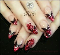 Luminous Nails: Deep Red Stiletto Nails with Red Flowers & Crystal...