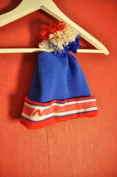 Vintage 70s80s Beanie Blue red Skiing retro Activewear by VirtageVintage on Etsy