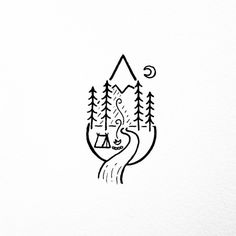 Simple art drawings nature 27 ideas for 2019 Doodle Drawings, Doodle Art, Cute Drawings, Tattoo Drawings, Small Easy Drawings, Mountain Tattoo, Mountain Drawing, Nature Tattoos, Trendy Tattoos