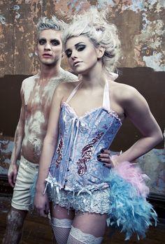 ALICE IN WONDERLAND Showgirl Burlesque corset costume circus blue pink. via Etsy.