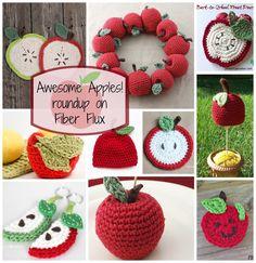 Awesome Apples!  Roundup on Fiber Flux (10 free crochet patterns) •✿•  Teresa Restegui http://www.pinterest.com/teretegui/ •✿•