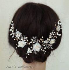 Accesorio del pelo de boda tocado de novia oro por adriajewelry