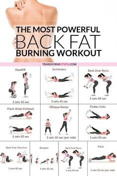 Get rid of your lower back fat. 8 exercises to get rid of lower back fat for women. This exercise group helps to work out your back whilst giving your abs a tough time. This hits your who Lose Arm Fat Fast, Fat To Fit, Lose Belly Fat, Lose Fat, Burn Arm Fat, Belly Belly, Back Fat Workout, Fat Burning Workout, Back Workout At Home