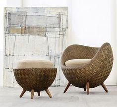 La Luna-a rattan chair by Kenneth Cobonque