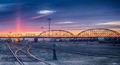 https://flic.kr/p/rCbYML | Sunset on Arlington Bridge, Winnipeg, Manitoba, Canada | 7 shot composite (+/- 3ev).
