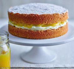 Cake Recipes Uk, Sponge Cake Recipes, Sweet Recipes, Baking Recipes, Easy Lemon Sponge Cake Recipe, Sandwich Recipes, Lemon Curd Cake, Lemon Drizzle Cake, Lemon Cakes