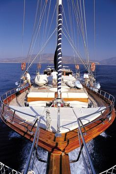 A five-cabin wooden luxury yacht sailing the coast of Turkey and among Aegean islands of Greece Yachting Club, Yacht Boat, Sail Away, Open Water, Wooden Boats, Tall Ships, Sardinia, Water Crafts, Sailing Ships
