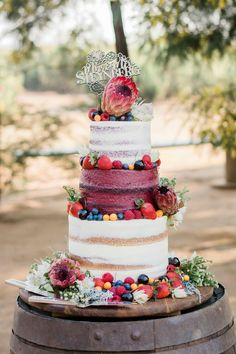 Gold and marsala naked wedding cake adorned with fresh fruits & greenery. Photographs by Grace Marsala and Gold Wedding Inspiration / silver chandelier cake stand by Opulent Treasures Fruit Wedding Cake, Fall Wedding Cakes, Marsala And Gold Wedding, Snow White Wedding, Wedding Cake Prices, Naked Cakes, Traditional Wedding Cake, Fall Cakes, Winter Wedding Inspiration