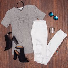 Tanith Lace Up Top - Gray