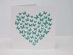 Stunning butterfly heart papercut card. by chloescraftsuk on Etsy, £3.00