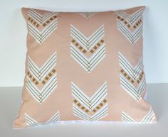 Peach gold blush pink minky nursery pillow by WilderAndBean. I absolutely adore this fabric.