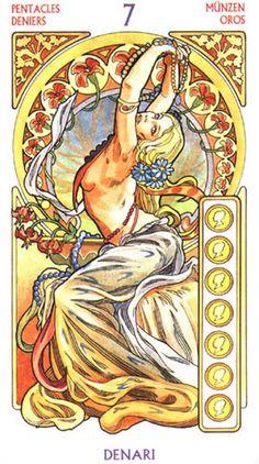 Tarot Art Nouveau - Seven of Pentacles