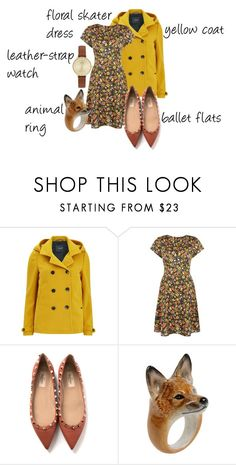 """""""Trending 10/3/2015"""" by lorelei-is-me ❤ liked on Polyvore featuring мода, Maison Scotch, Valentino, Nach, Skagen, balletflats, watch, coat, skaterdress и animalring"""