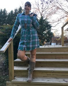 I am sharing several ways to style a dress and talking about why I am wearing dresses every day in December to help bring awareness to modern slavery and human trafficking. Wearing Dresses, Eco Friendly Fashion, Plaid Fashion, Human Trafficking, December, Bring It On, Shirt Dress, Modern, How To Wear