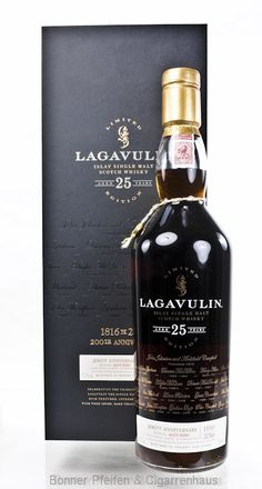 Lagavulin whiskey 25 y. This strictly limited bottling was created in the 200 . - Lagavulin whiskey 25 y. This strictly limited bottling was created for the anniversary of t - Whiskey Brands, Cigars And Whiskey, Alcohol Bottles, Liquor Bottles, Scotch Whisky, Bourbon, Tequila, Strong Drinks, Ale