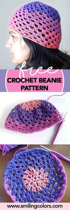 Free Crochet beanie pattern, grannie stripe pattern, quick crochet projects