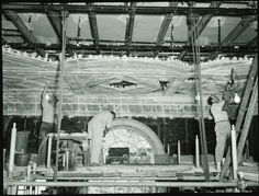 The Metropolitan Museum of Art, Western European Arts Galleries, Dining Room from Lansdowne House; View with people installing the ceiling of the dining room (32.12). Photographed in 1954. Image © The Metropolitan Museum of Art