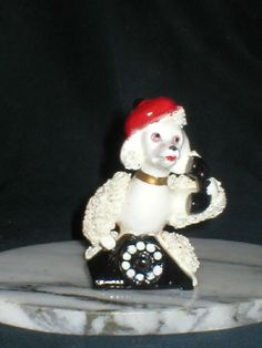 Spaghetti Poodle Sitting on A Telephone Wearing A Beret Ooh La La | eBay