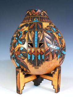 Isleta Pueblo Pyro-engraved Gourd by Lisa Chavez-Thomas