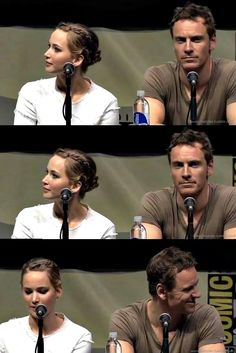 Comic Con 2013 Michael Fassbender and Jennifer Lawrence