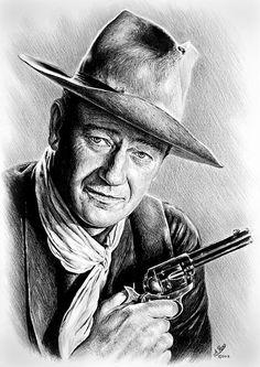 A graphite drawing on smooth bristol board of Western actor John Wayne. John Wayne Quotes, John Wayne Movies, Celebrity Drawings, Celebrity Portraits, Realistic Pencil Drawings, Actor John, Cowboy Art, Western Movies, Western Art