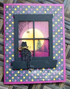 Stampin Up festive fireside framelits 139668 Up Halloween, Halloween Cards, Thanksgiving Cards, Holiday Cards, Window Cards, Cat Cards, Stamping Up Cards, Animal Cards, Copics