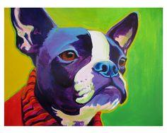 Colorful Pet Portrait, Dapper Boston Terrier, Dog Art Print 8x10 by Alicia VanNoy Call