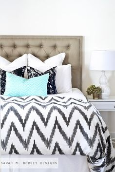 Tufted Headboard with Nailhead | How To And ikat chevron bedding