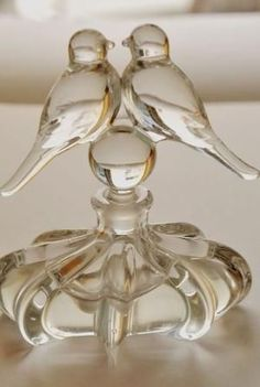 Vintage Crystal Love Birds Perfume Bottle 1940 by DeeDeeBean