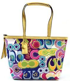 Coach Limited Edition Signature Poppy Doodle Bag Tote Multi COACH. $159.00