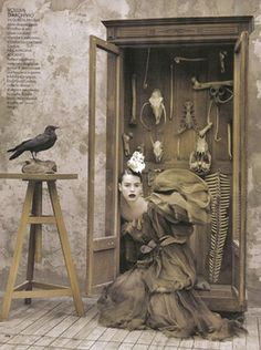 Cabinet of curiousities. Elle Italia, November 2008. Photo by Ruven Afanador.