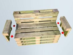 How to make a bank with pallets step by step 5 diy pallet, diy pallet sofa, diy pallet bed, diy pall Diy Pallet Couch, Pallet Patio Furniture, Diy Furniture, Pallette Furniture, Furniture Makeover, Furniture Design, Banquette Palette, Pallet Bank, Making A Bench