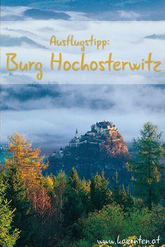 Alte Ritterburgen finden sich in Kärnten viele, aber kaum eine ist so imposant wie die Burg Hochosterwitz. Dieses Ausflugsziel ist ideal für einen Familienausflug. Gemeinsam geht man durch 14 Burgtore auf den Spuren der Zeit und kann zum Schluss auch eine Waffensammlung und eine Rüstkammer bestaunen. Eine wahre Erlebnistour  zurück ins Mittelalter! Klagenfurt, Mountains, Nature, Painting, Travel, Bike Rides, Time Travel, Summer Vacations, Family Vacations