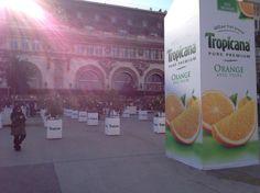 «On passe à l'heure d'été, levez vous de bonheur !», c'est pour relayer ce claim que Tropicana a investi la gare de Lyon de 6h à 12h.  La marque a ainsi recréé une véritable orangeraie composée de 50 arbres répartis sur le parvis de la gare, aux côtés d'une réplique géante de bouteille de Tropicana de 5m de haut. Le dispositif comportait également une équipe d'animation ayant distribué près de 40 000 échantillons à tous les voyageurs pour les aider à être de bonne humeur.