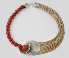 Handmade necklace by Character Jewels in Art. Sterling Silver with Coral and Flax. www.daedalushop.com